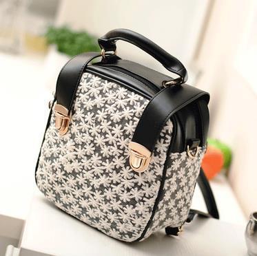 3 use Lace flower pu leather woman handbag strap shoulder bag back pack small metal tote knapsack black and white women bag 2015(China (Mainland))