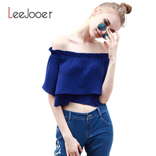LEEJOOER Sexy off shoulder Ruffles Slash Neck Cotton Elegant Blouse Shirt Summer 2016 Girls White Blouse Women Tops Solid blusas(China (Mainland))