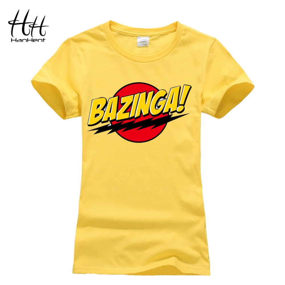 HanHent Bazinga Funny Women's T-Shirts Cotton Ladies Tops The Big Bang Theory T Shirt Summer Casual Cropped Tee Shirt Woman Suit(China (Mainland))