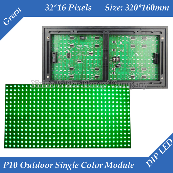 P10 Outdoor Green color LED display module 320*160mm 32*16 pixels waterproof high brightness for text message led sign(China (Mainland))