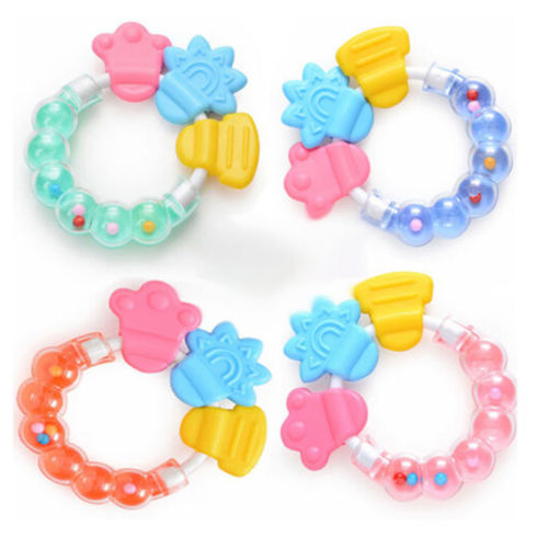 Safety Silicone Biting Teething Teether Ring Rattles Balls Toys For Baby Infant 2016 Latest(China (Mainland))