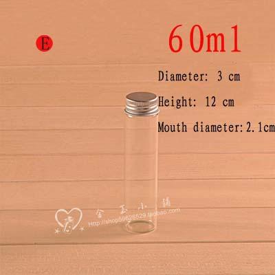 Capacity 60ml(3*12*2.1cm) 50pcs/lot Aluminum cap transparent cute glass vials with corks wish bottle,mini glass bottle(China (Mainland))