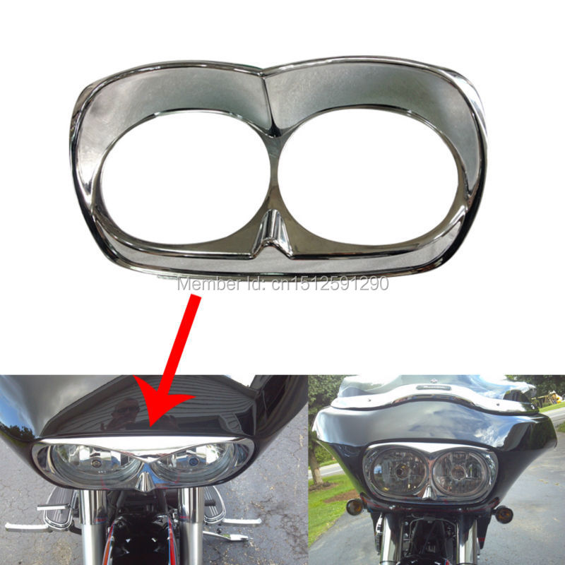 Chrome Bad Boy Harley Road Glide Head light Bezel scowl for outer fairing Custom Free Shipping(China (Mainland))