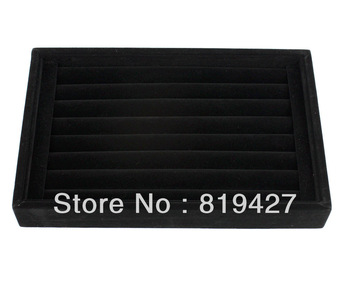 Free Shipping,Wholesale 2pcs 7 Rows Black Jewelry Rings Earrings Display Show Case Organizer Tray Box