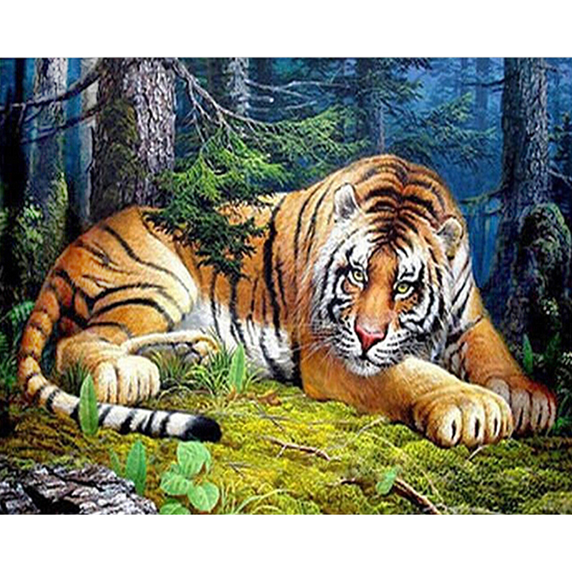 Puzzle Picture Of Forest Tiger 3D Diamond Painting Animal Diy Embroidery Square Resin Drill Rhinestones Cross-Stitch Needlework(China (Mainland))