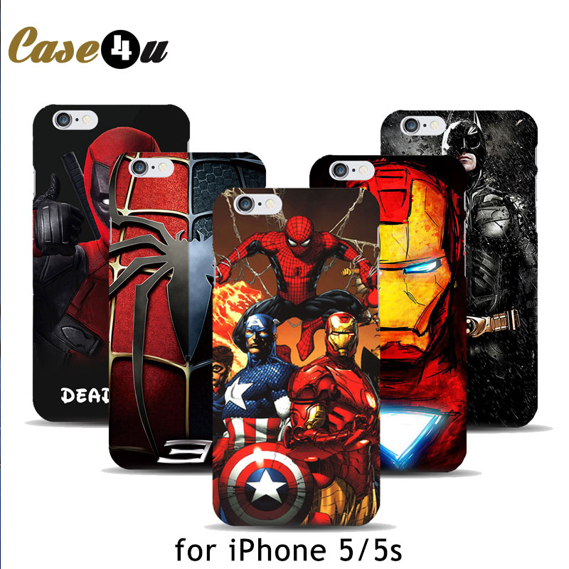 Marvel Avengers Captain America Shield Iron man Hard Case Cover for fundas iPhone 5 5s Spiderman Deadpool Painted Pattern(China (Mainland))