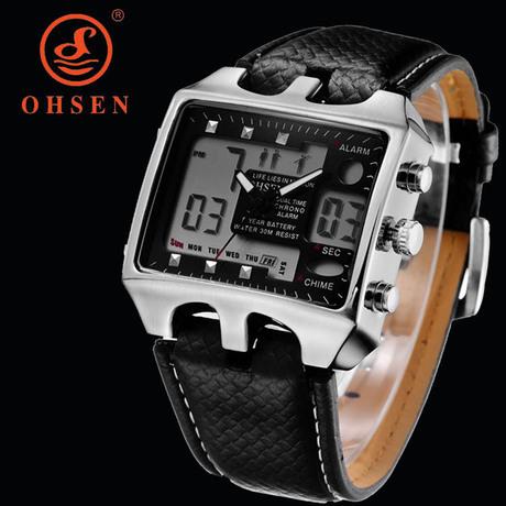 Ohsen бренд цифровой двойной время из светодиодов мужские роскошные спортивные часы 3ATM водонепроницаемый Relogio час знаков часы мужской кожаный ремешок наручные часы