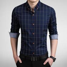 2016 New Brand Casual Men shirt Slim Fit fashion Men plaid shirt  long sleeve Cotton mens dress shirts  chemise homme 5XL(China (Mainland))