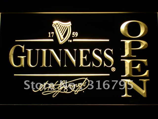 038-y Guinness Beer OPEN Bar LED Neon Sign with On/Off Switch 7 Colors to choose(China (Mainland))