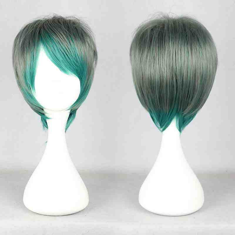 Straight Synthetic Lace Front Wig Heat Resistant Fashion Ladys gray and green Short Straight Party cosplay Wig <br><br>Aliexpress