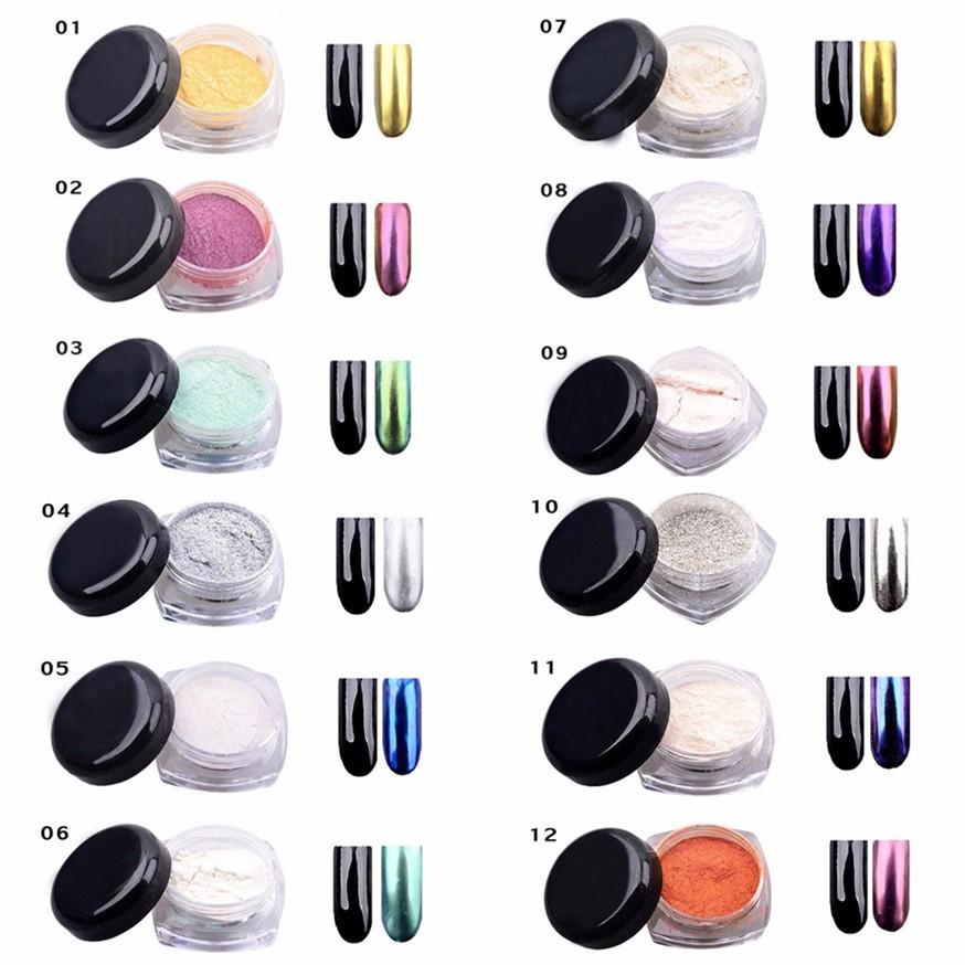 2016 New 12 Pc/Lot DIY Shinning Chrome Mirror Powder Nail