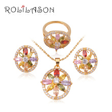 18k k gold plated Color Zircon Crystal Jewelry Sets Earrings Necklace Ring sz #5.5 #6.5 #7.5 8.25 Fashion JS394 - ROLILASON Store store