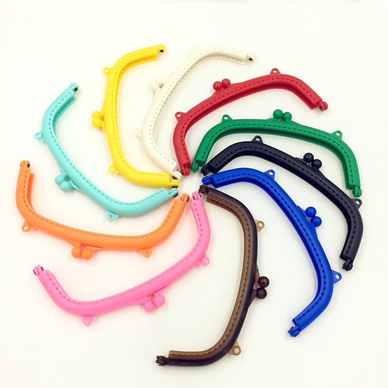 10 Candy Colors Fashion Purse Coin Bag Plastic Arc Frame Kiss Clasps 16cm DIY Handbag Handle Findings(China (Mainland))