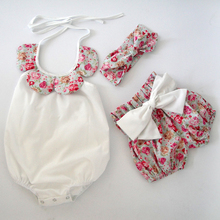 2015New arrival baby toddler summer boutiques baby girls vintage floral ruffle neck romper cloth with bow knot shorts headband(China (Mainland))