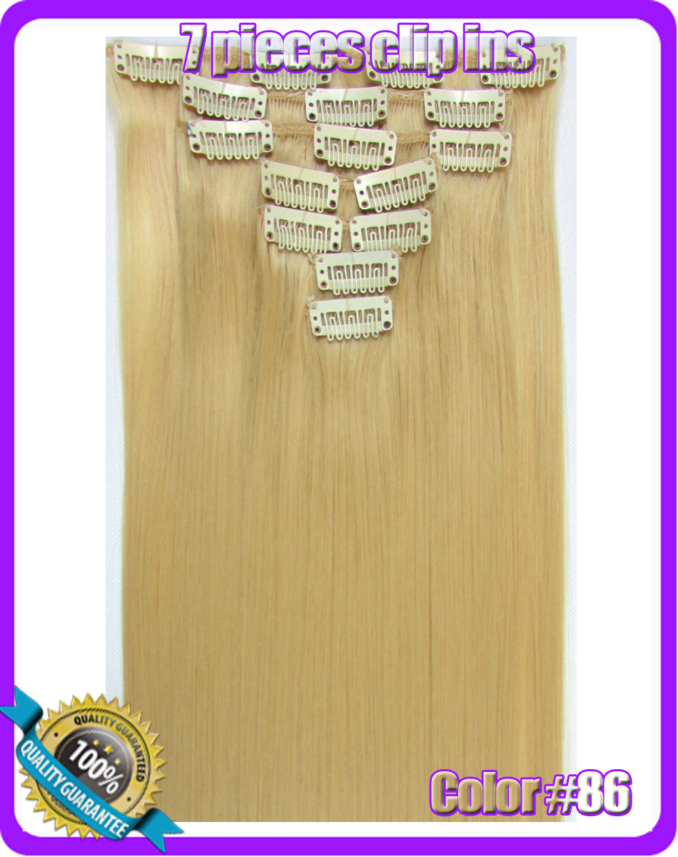 22(55cm) straight clip in hair extensions 130g 7pcs/set hot resistent synthetic, color #86 Light Golden<br><br>Aliexpress