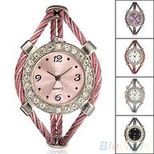 Steel Wire Crystal Shining Quartz Twisted Rope Bracelet Bangle Wrist Watch W2E8D