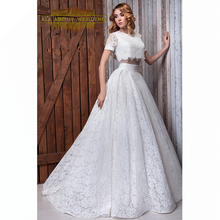 Buy Lace Crop Top Wedding Dresses Real Photo Two Piece High Short Sleeve Round Neck Ball Gown Factory Custom Made Real for $229.00 in AliExpress store