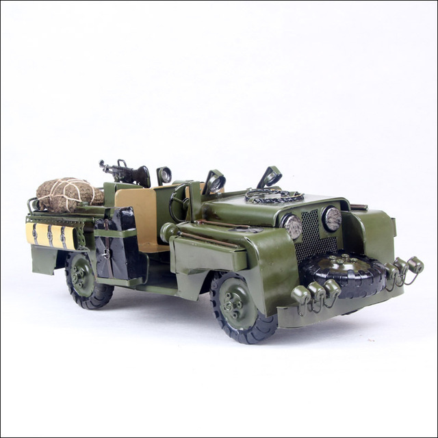 3019 Metal crafts Chariot Jeep Model Army Green decorations free shipping