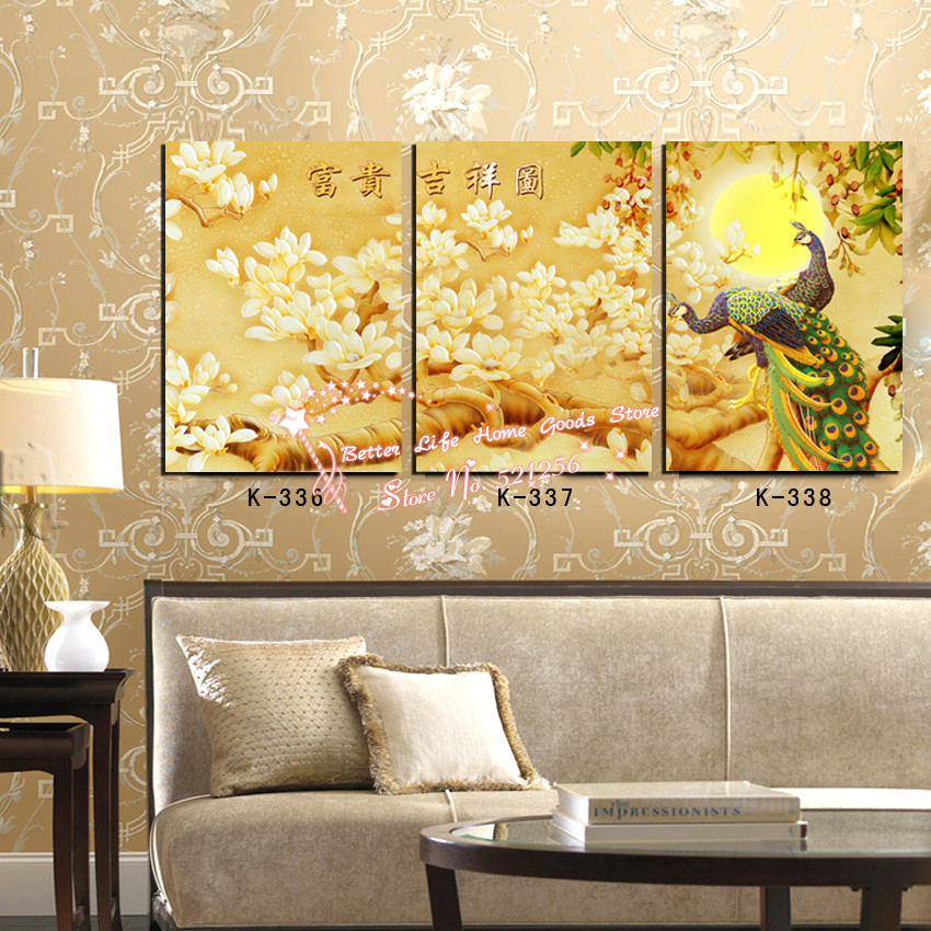 Modern Home Decoration Printed Oil Painting Pictures No Frame 3 Panel Decorative Pictures Chinese White Orchids Peacock Prints