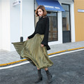 High quality vintage elegant pleated skirt saia autumn faldas high waist long skirts womens jupe European