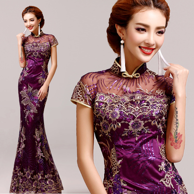 Purple Vintage Evening dress Short sleeve long cheongsam dress chinese traditional dress qipao evening dresses gown plus size(China (Mainland))