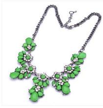 GR JEWELRY Wholesale Bohemia Rhinestone Necklaces Flowers For Women Fashion Necklaces(China (Mainland))