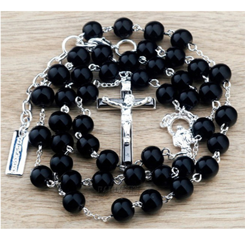Beckham rosary cross necklace Bead Chain pendant Necklaces men women fashion jewelry Black masculina colar - Paul Fashion Jewelry store
