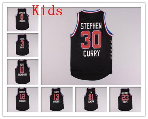Kids 2015 All Star Basketball Jersey #32 Blake Griffin #0 Damian Lillard #13 James Harden Youth Basketball Shirt West Team(China (Mainland))
