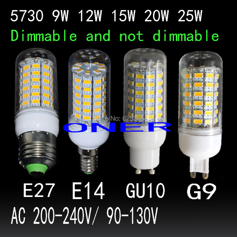 dimmable LED bulb light lamp E27 E14 G9 GU10 led 9W 12W 15W 20W 25W 28W 30W AC 220V 110V SMD5730 LED Corn lamp Chandelier(China (Mainland))