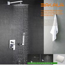 BAKALA De Luxe 8-10-12-16 pouce En Acier Inoxydable Salle De Bains robinets de douche pluie tête de douche ensemble avec douche à main(China (Mainland))
