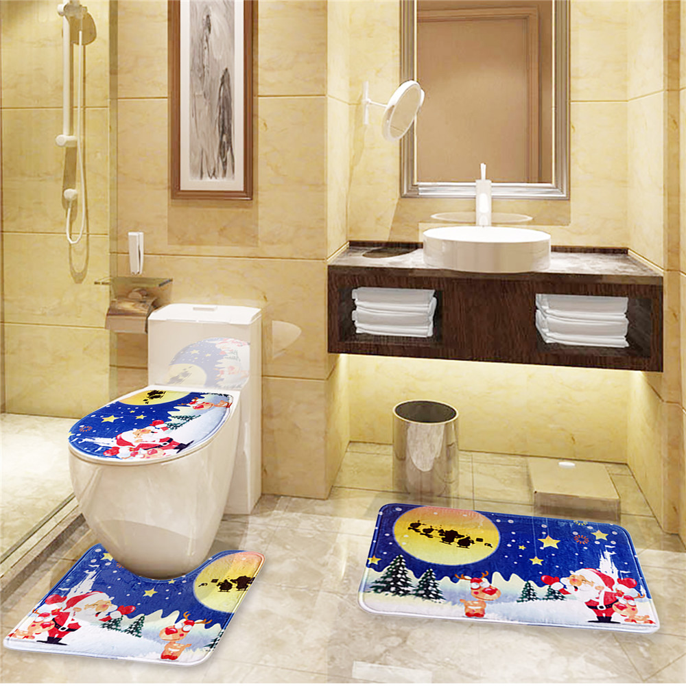 3 Piece Christmas Flannel Bath Mat Set ( Toilet Contour Rug + Bathroom Mat + Toilet Lid Cover )(China (Mainland))