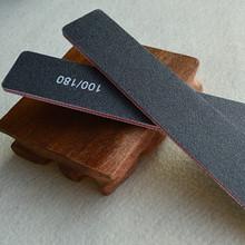 1x Hot Sale Manicure Styling Tools Black Rectangle 100/180 Slim Emery Board Sanding Nail Art Sandpaper Nail Files Buffer NC155(China (Mainland))