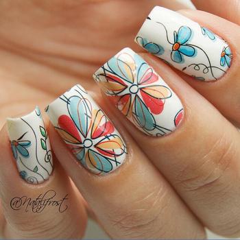 BORN PRETTY BP-W17 Cute Flower Nail Art Water Decals Transfer Stickers