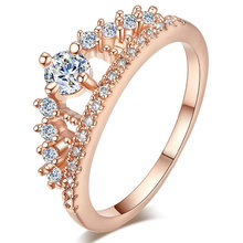 TUKER  Female Crown ring Simulated CZCz 925 Sterling Silver Engagement wedding Band ring for women(China (Mainland))