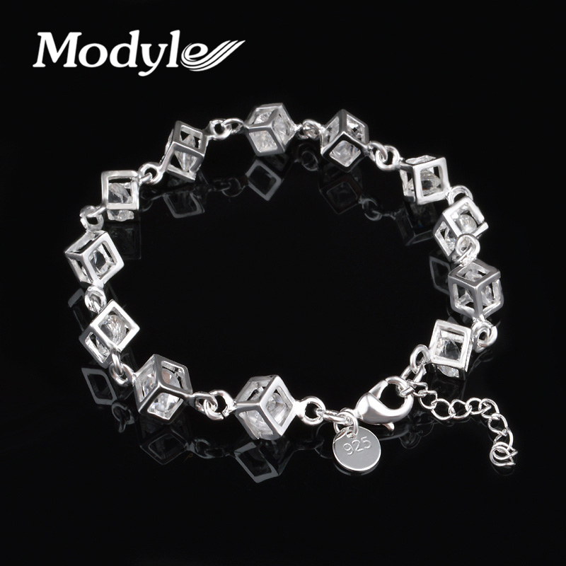 2016 New Luxury Austrian Crystal Cubes Bracelet for Women Silver Plated Fashion Charm Bijoux Bracelets(China (Mainland))
