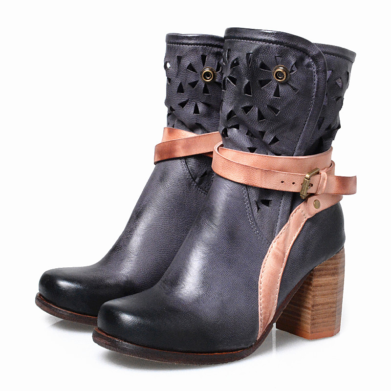 Choudory Women Real Leather Gladiator Boots Thick High Heel Riding Boots Female Square Heel Knight Cowboy Boots(China (Mainland))