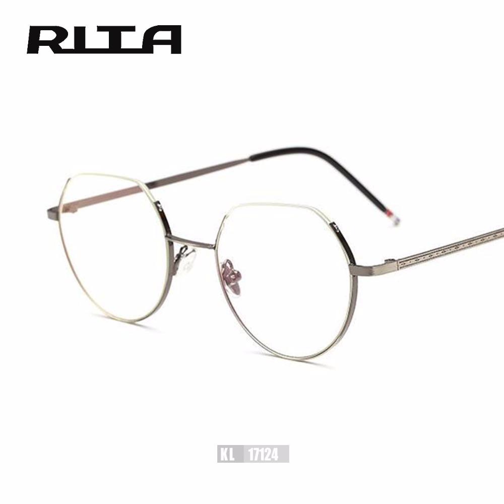stylish eyeglass frames o93q  2017 RITA Vintage Semi-rimless Eyewear Brand Designer Women Square Eyeglass  Frame TB Stylish Men Optical Frames