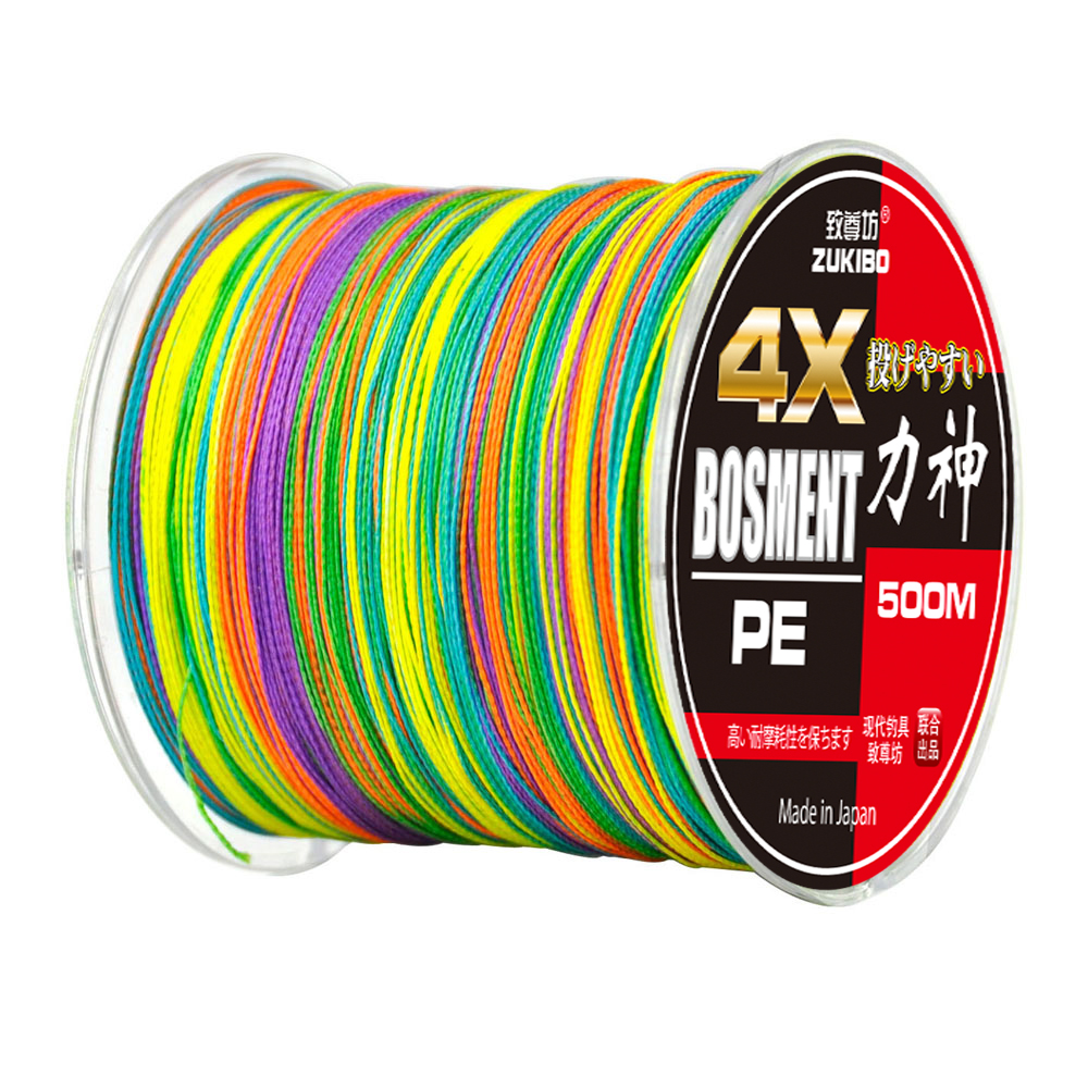 500M Brand ZUKIBO Japan Multifilament 100% PE Braided Fishing Line 8LB to 90LB 4 Strands Wires 1M 1Color(China (Mainland))