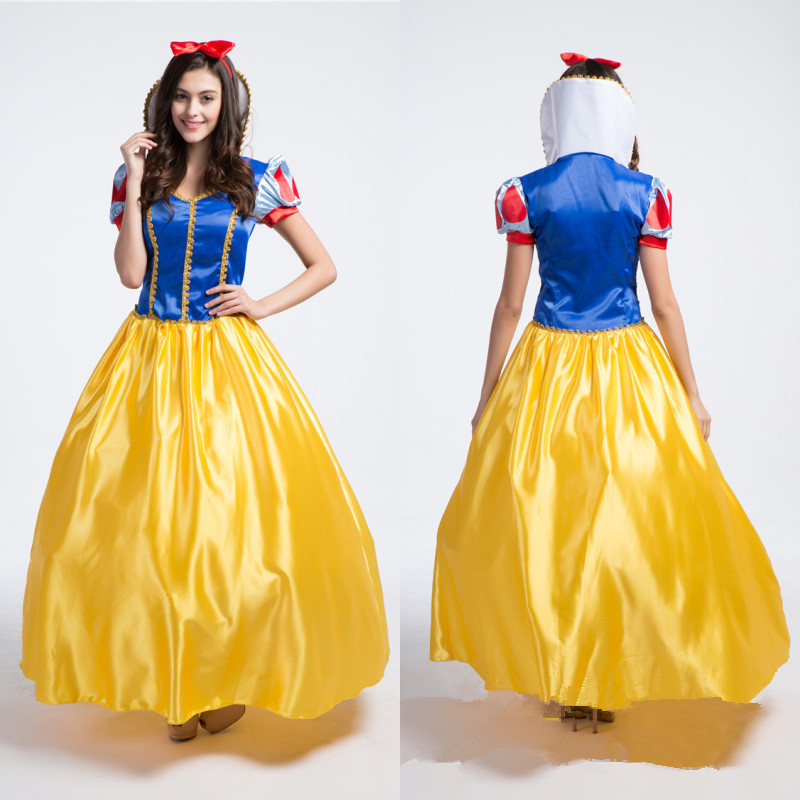 Hot Sale Cartoon Princess Snow White Cosplay Costumes Adult Dress Halloween Party Fancy Dress(China (Mainland))
