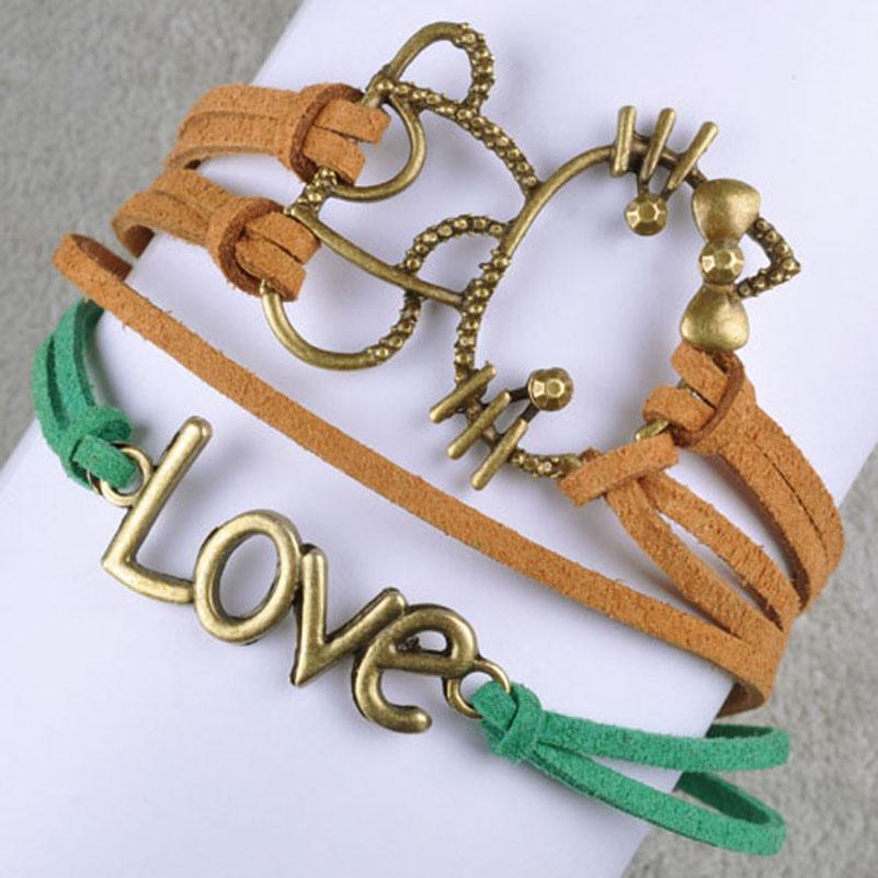 2015 trendy women bracelets hello cat girl handmade faux Trendy womens gifts 2015