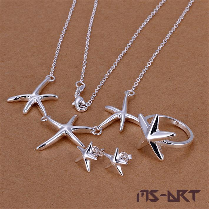 Jewelry Sets 925 Sterling Silver African Beads Jewelry Set Starfish Shape Bridal Jewelry Sets Individuality Debutante Simple(China (Mainland))
