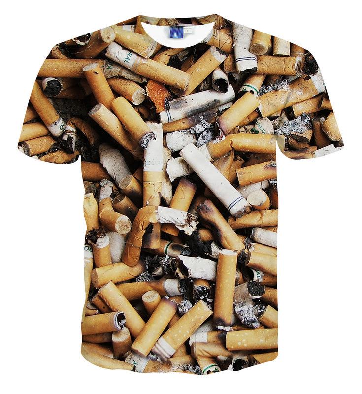Novelty T shirt cigarette butt printed 3d t-shirt homme men and women tee shirt short sleeve O-neck casual t-shirts streetwear(China (Mainland))