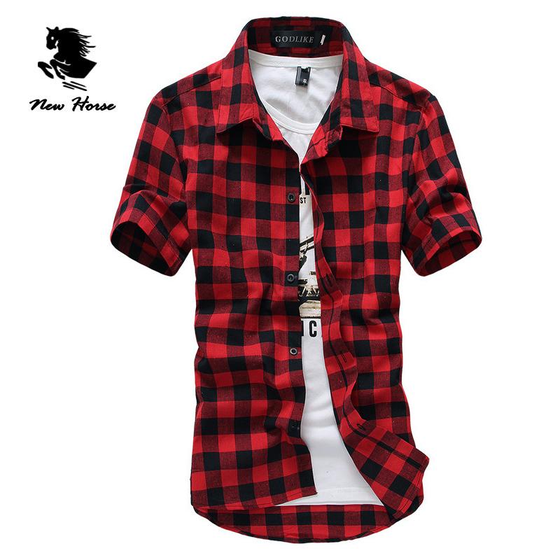Red And Black Plaid Shirt Men Shirts 2016 New Summer Spring Fashion Chemise Homme Mens Dress Shirts Short Sleeve Shirt Men(China (Mainland))