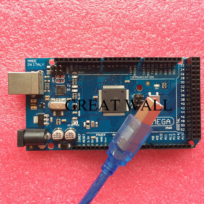 Mega2560 R3 for Arduino (with LOGO) ATmega2560-16AU,ATMEGA16U2-MU(20pcs Board +20pcs USB Cable)(China (Mainland))