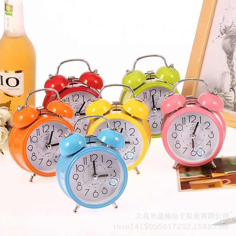 Factory wholesale classic muting the Bell alarm clock Nightlight lazy people the simple home of daily student gifts(China (Mainland))
