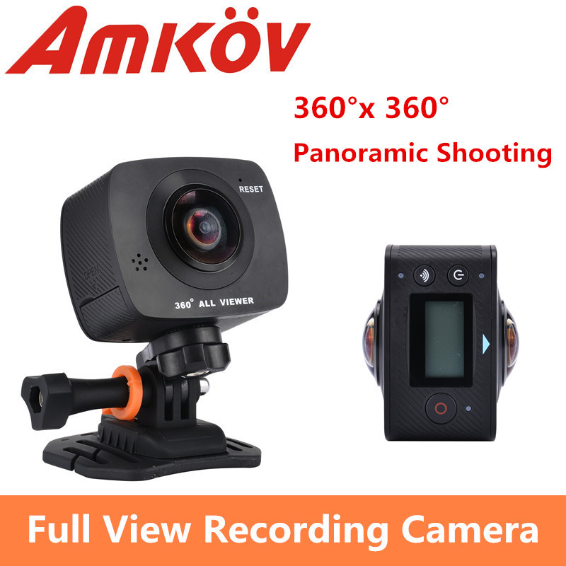 New Arrival AMKOV AMK200S dual lens 360*360 Degree Panorama Camera HD WiFi Sport Camera Action Camera Support VR Youtube(China (Mainland))