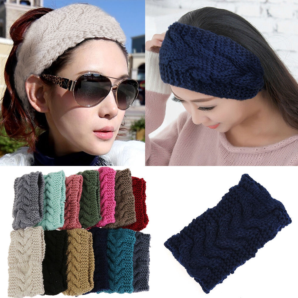 Promotion! Winter Beauty Fashion 13 Colors Flower Crochet Knit Knitted Headwrap Headband Ear Warmer Hair Muffs Band Q1(China (Mainland))