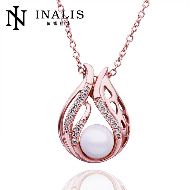 N548 New Design Wedding Women Necklace 18K Gold Plated Austrian Crystal Pendant Necklace Pearl Jewlery Vintage