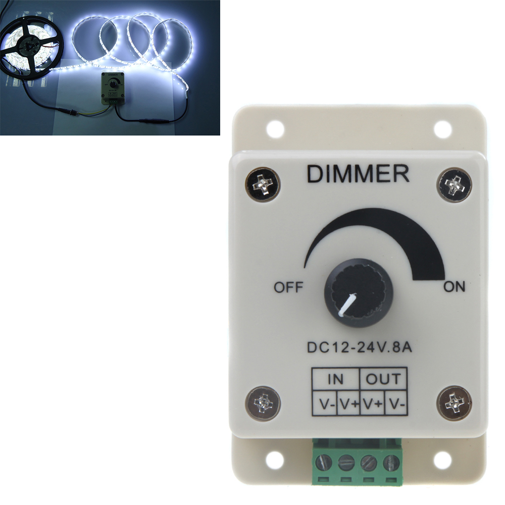 Dimming Controler LED Dimmer Controller 12-24V Single Color Bright Adjust for 5050 3528 LED Light Strip by Rotary Knob Control(China (Mainland))