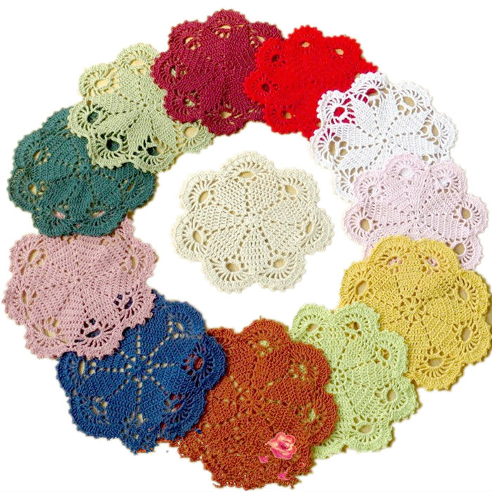 christmas handmade crochet tablecloth round pad table dish mat doilies Coasters doily cover IKEA home decor[Can custom]Set of 10(China (Mainland))